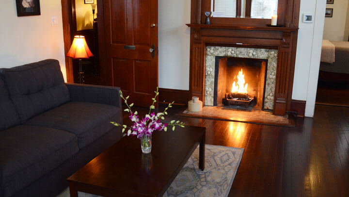 Fitzgerald Suite living room with fireplace